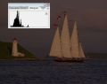 Sail boat sea lighthouse histogram