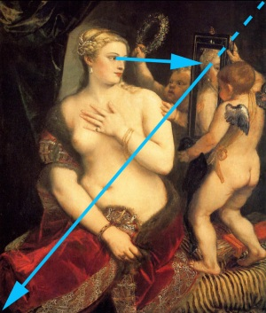 Titian - Venus with a Mirror and composition marks